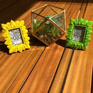 Two Tiny (Green + Yellow) Picture Frames